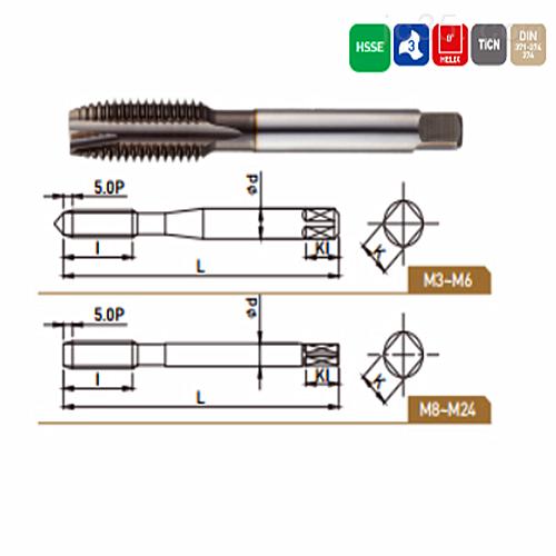 韩国WIDIN高速钢TICN涂层刃倾角丝锥