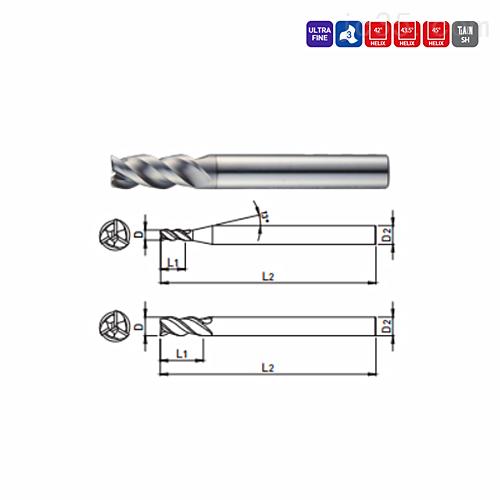 韩国WIDIN不等分3刃钛合金加工铣刀